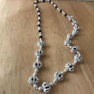 Handmade Faux White pearl Black beaded Necklace